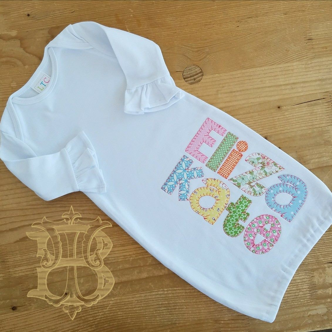 Appliqued Blanket Stitch Name Infant Knit Gown