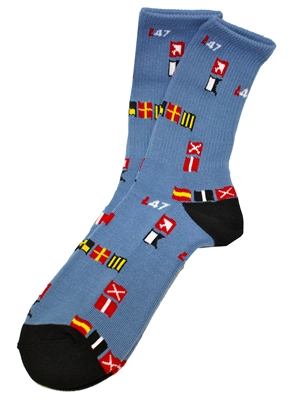 LRG Lifted Research Group Yacht Rock Venice Blue Crew Socks