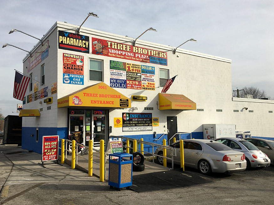 Three Brothers in Baltimore has everything you need in one location! Check Cashing, Bill Pay, Lottery, MVA Tag & Title, Car Wash, Fingerprinting, Discount Beer + Wine + Liquor, Groceries, Dollar Plus & more…