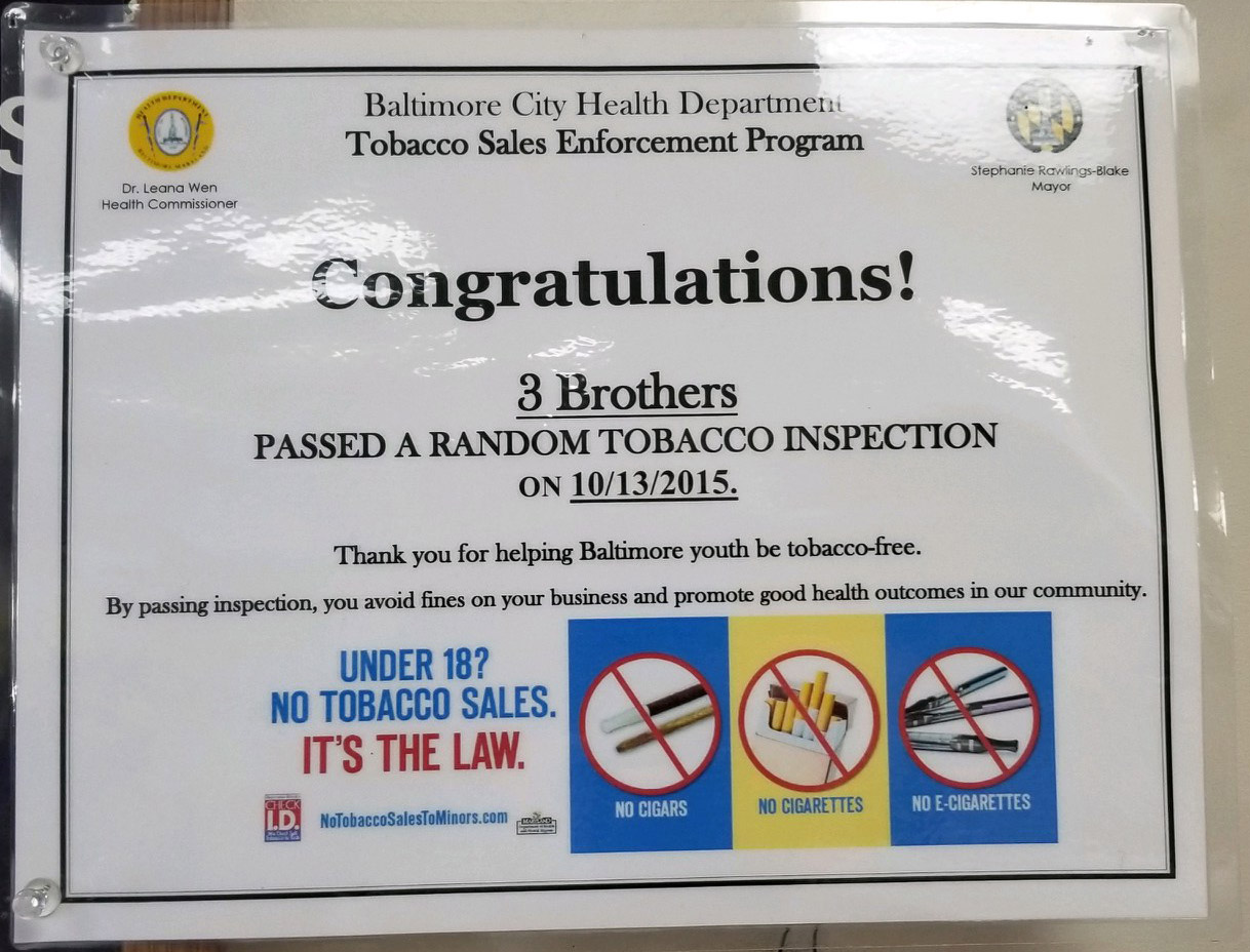 Three Brothers Baltimore - Tobacco Inspection