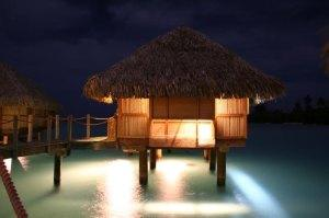 Bora Bora over water bungalow at night