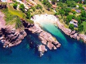 Aerial view of Ferradurinha Beach, Buzios