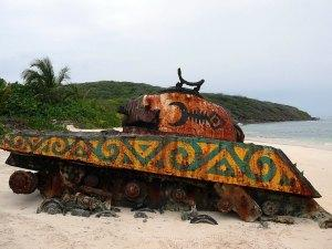 Tank on Flamenco Beach Culebra Puerto Rico