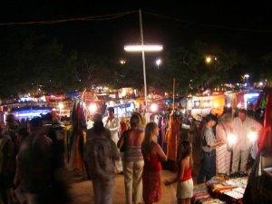 Baga Beach at night - Market - Goa, India