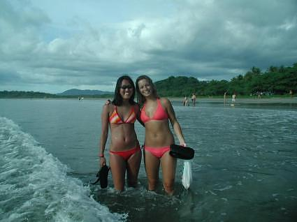 Kari and I at Tamarindo beach after our surfing lessons collecting seashells