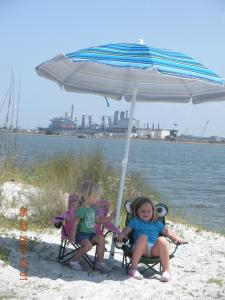 Kids at Camping at Huguenot Park Beach, Fort George Island, Florida