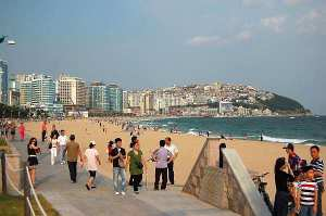 People strolling on Haeundae Beach Busan, South Korea