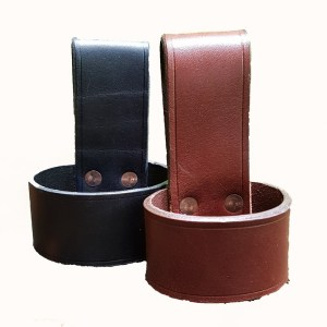 two leather axe loops in black and brown