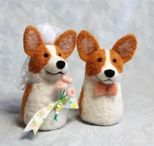 Needle felt Corgi Wedding Toppers