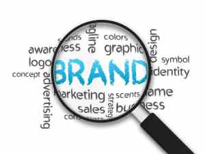 Magnified brand word illustration on white background.