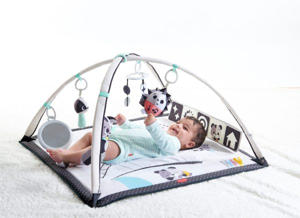 A happy baby lays on it's back on a playmat, tugging a toy suspended from an arch