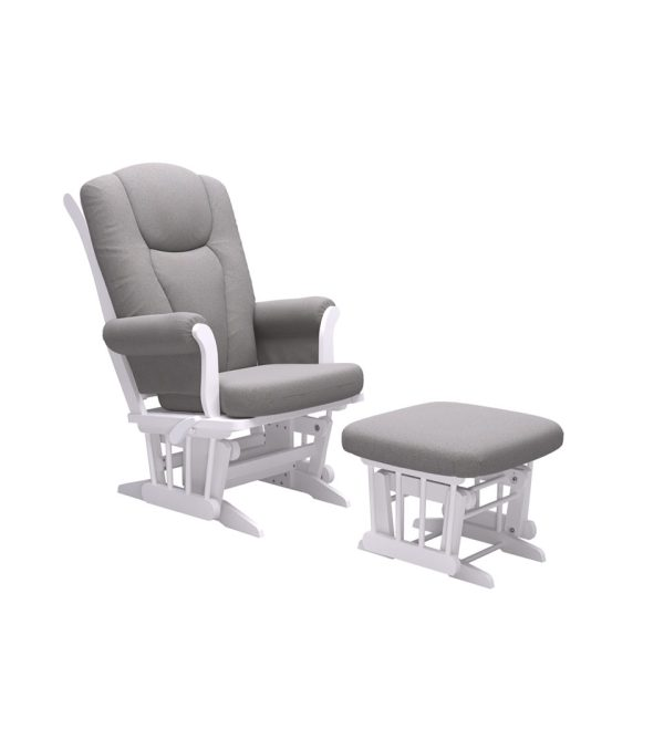 Dutailier Ontario with White Finish and Light Grey Fabric