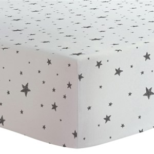 Fitted Crib Sheet - BW Scribble Stars