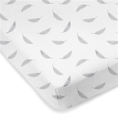 Mini Crib Sheet Grey Feathers
