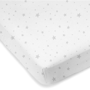 Mini Crib Sheet Grey Scribble Stars