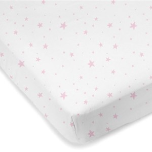 Mini Crib Sheet Pink Scribble Stars