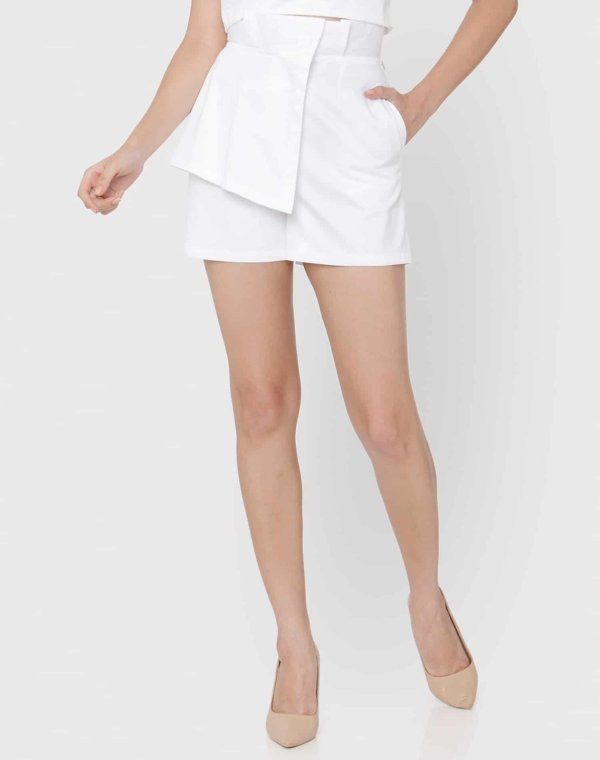 White Embroidered Flap Shorts