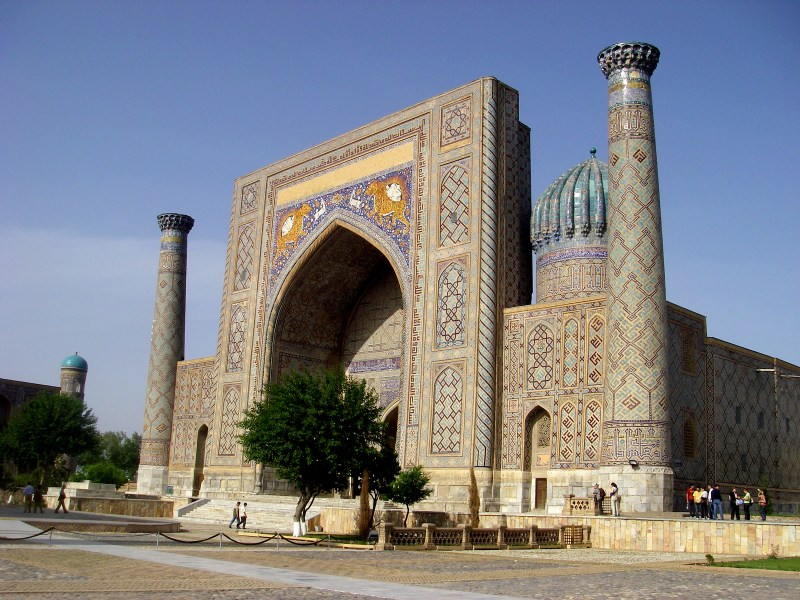 Registan square after sunset in Samarkand, Uzbekistan