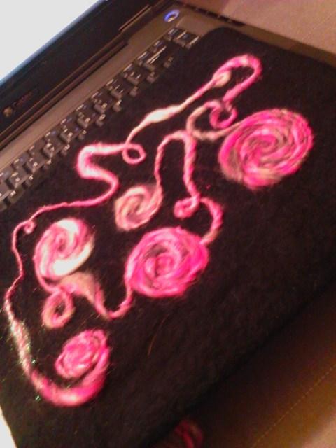 Felt tablet case, embellished with my own handspun.