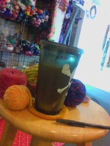 How I start mornings at the Studio. Pretty awesome, eh? Iced coffee and beautiful yarn.