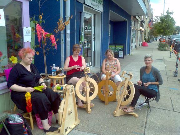 Christiane, Corrine, Kathy, Brenda get their spin on. Photo: Lovelyarns