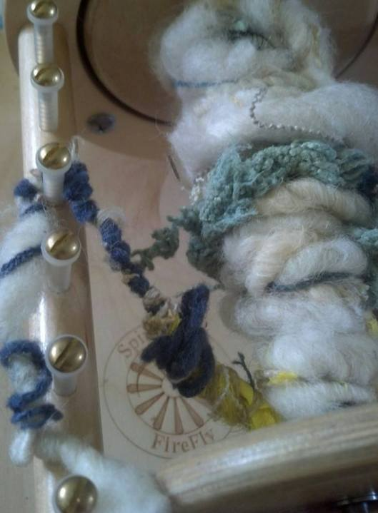 Candy Hargett of Calluna Farm Studios spins Navajo Churro wool mixed with thrums. Lovely! Photo: Candy Hargett
