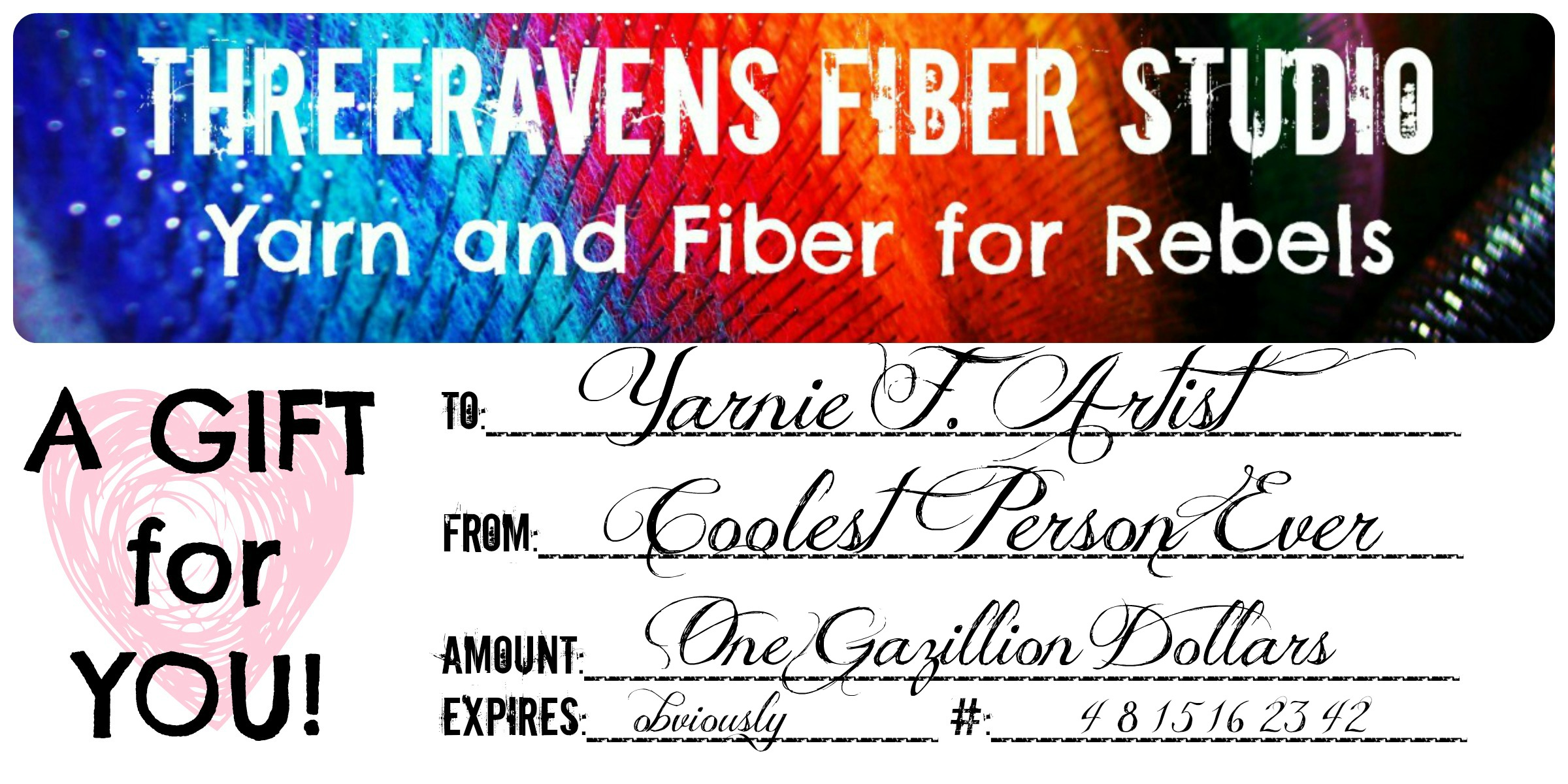 Threeravens gift certificate three ravens studio you can do this via the handy dandy cartbuttons below in a variety of set amounts you can combine amounts for a customized certificate 1betcityfo Images
