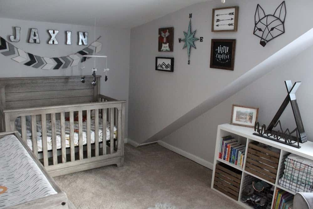 Woodland themed nursery | Adventure Themed Nursery | Thrifted & Taylor'd | www.thriftedandtaylord.com