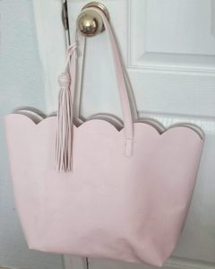 light pink scallop tote bag