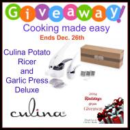 Culina Potato Ricer and Garlic Press Deluxe Giveaway ends 12/26