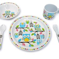 Kids Owl Melamine 5 Pc Dinnerware Set