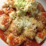 Gnocchi made with dried mash! Served with tomato sauce 15p a serving