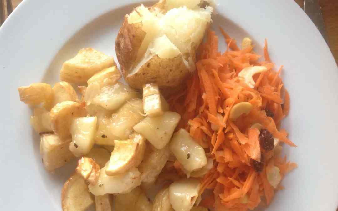 Roast Parsnip & Apple Salad, with Carrot, Raisin & Peanut Salad and Jacket Potato, total of 54p each