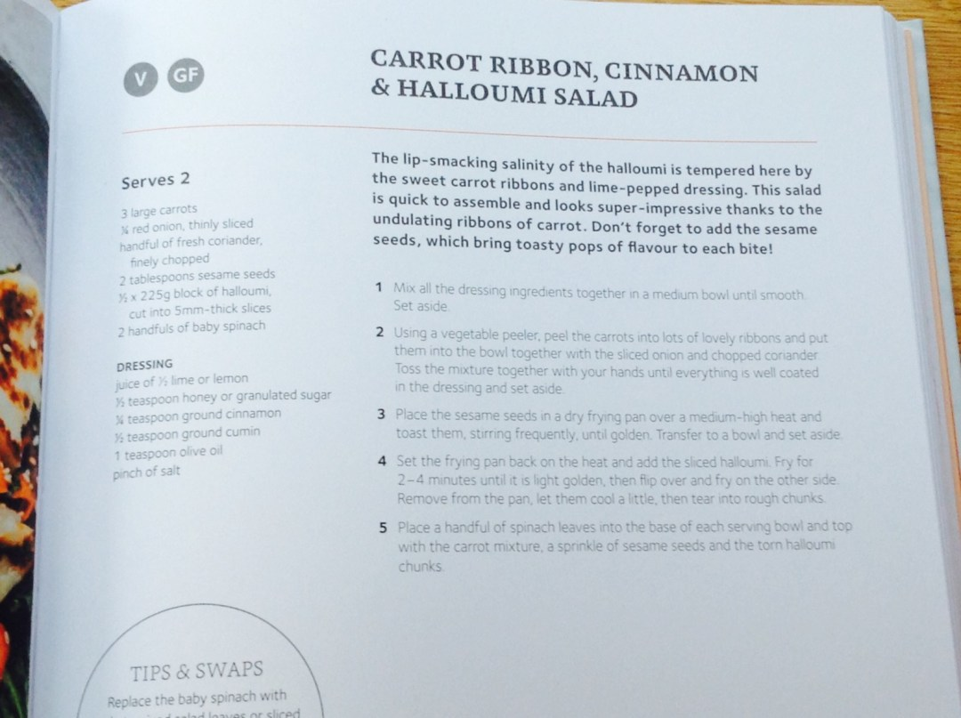Carrot ribbon and halloumi salad