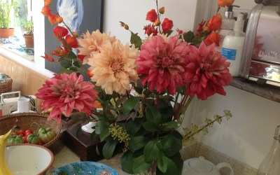 Changing silk flowers to suit the season