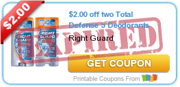 $2.00 off two Total Defense 5 Deodorants