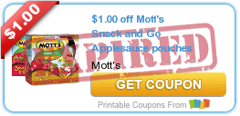 $1.00 off Mott's Snack and Go Applesauce pouches