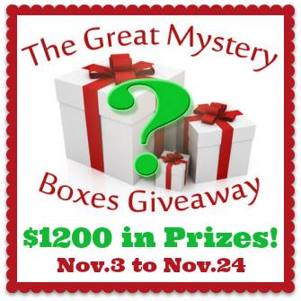 """We've got a fantastic giveaway for you to enter today! From November 3rd to the 24th, you can enter for a chance to win one of 5 amazing mystery boxes filled with goodies that we know you're gonna love!  These prizes are made available to you from our giveaway hosts:www.theknitwitbyshair.com, littlemisskate.ca, and www.mapleleafmommy.com.  We have over $1200 in prizes to be won in five themed mystery boxes including: --Baby, worth over $120 - Essential from newborn to 1 year --Kids, worth over $280 - Toys, games & more! --Health, worth over $340 - Skin care, oral care and overall health and wellness --Beauty, worth $200 - Lotions and potions for a little pampering --Box of Intrigue, worth over $240 - Mystery, Suspense, Intrigue (full of awesome treats)  *all prizes are brand new, with exception of media review items (aka books and DVDs which have been watched/read once for review purposes).  Giveaway open to Canada only.  Simply enter by completing one or more tasks in the giveaway form below - each task completed gives you more chances to win!  Good Luck!  Entry<script type=""""text/j"""
