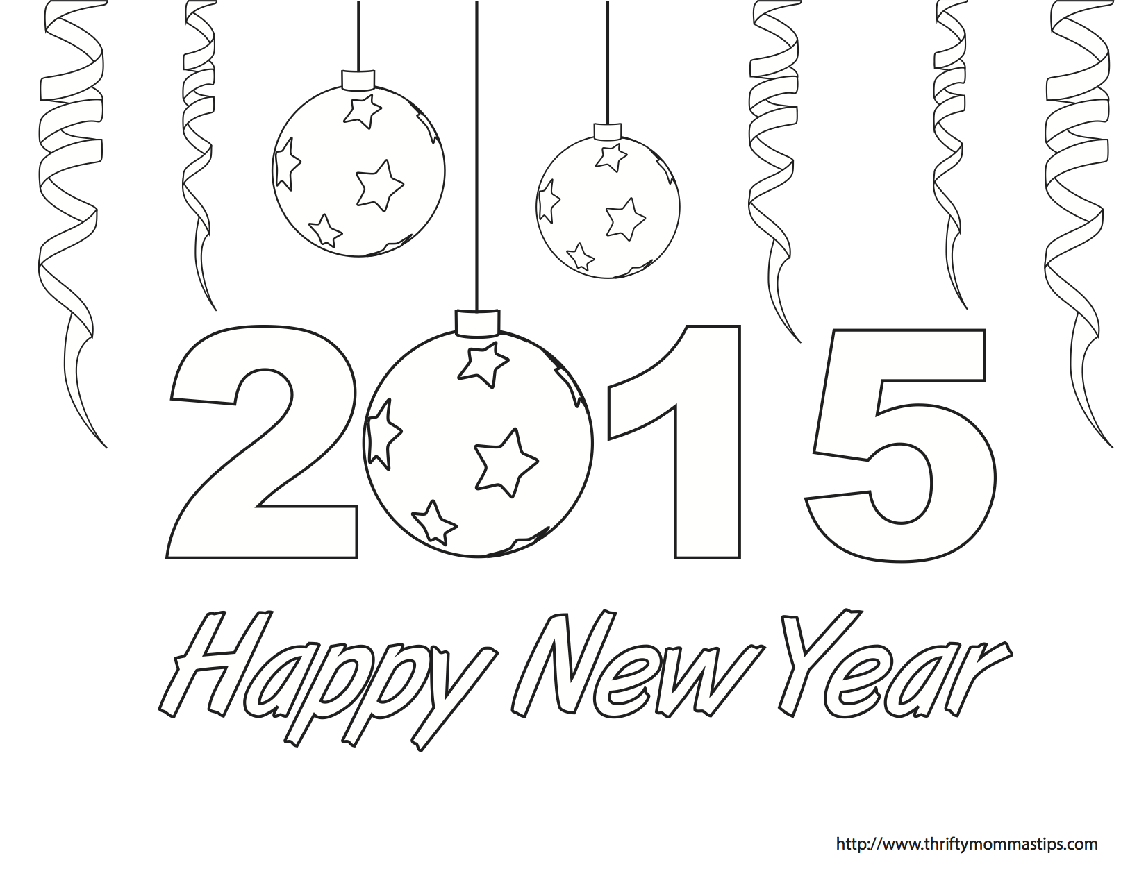 Happy New Year colouring page