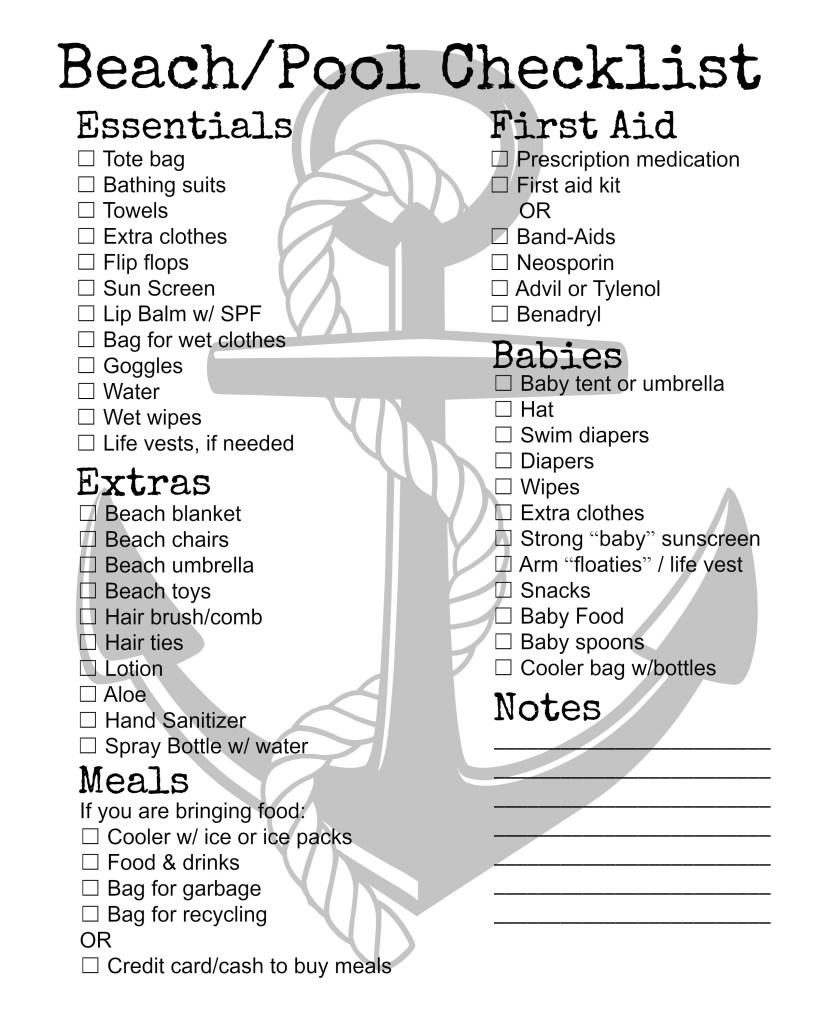 beach and pool checklist