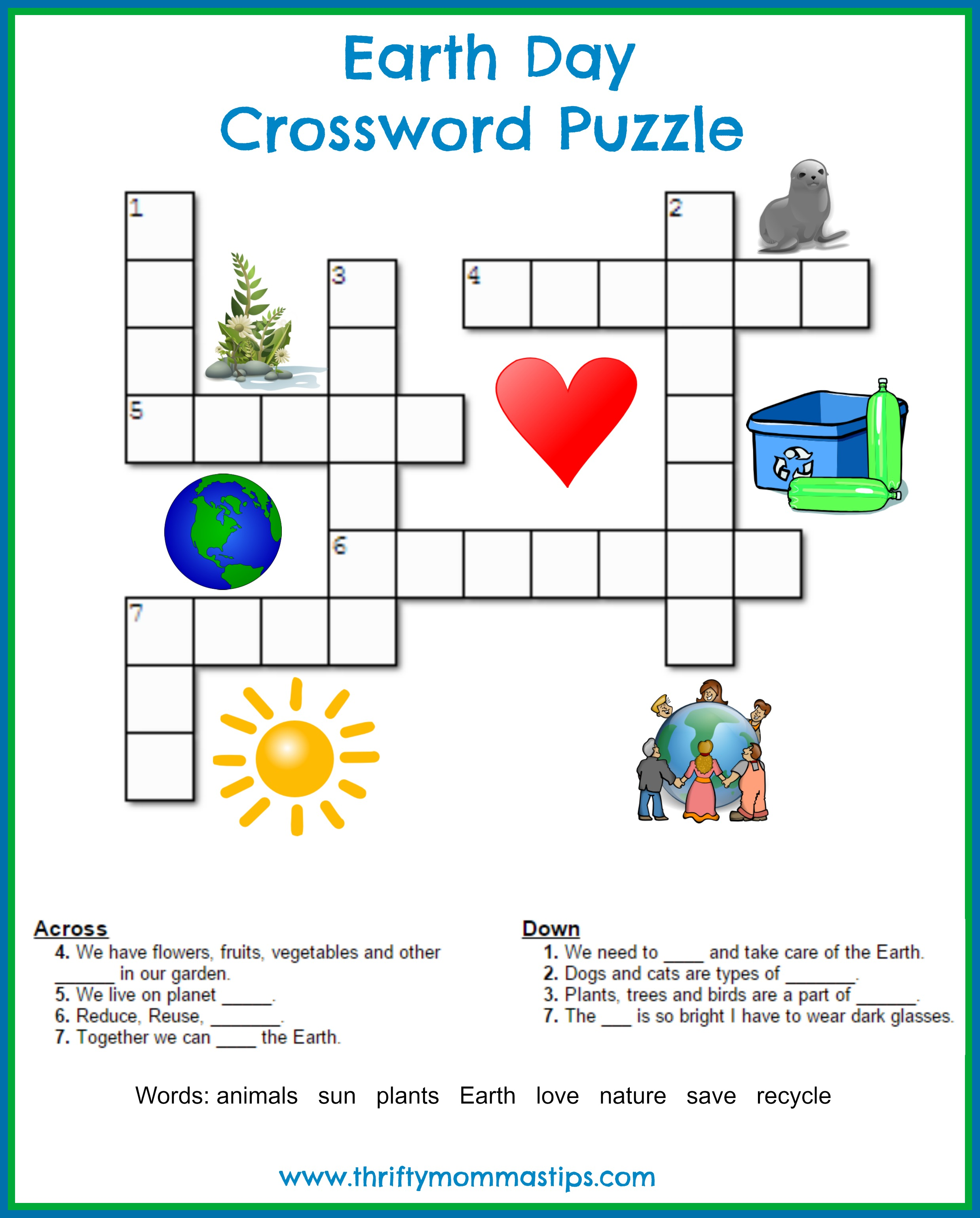 photograph relating to Earth Day Word Search Printable titled Entire world Working day Crossword Puzzle - Thrifty Mommas Pointers