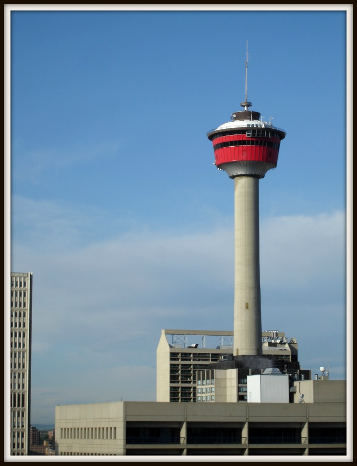 Calgary Alberta's Calgary Tower. Tourist attraction and revolving restaurant high above downtown Calgary.