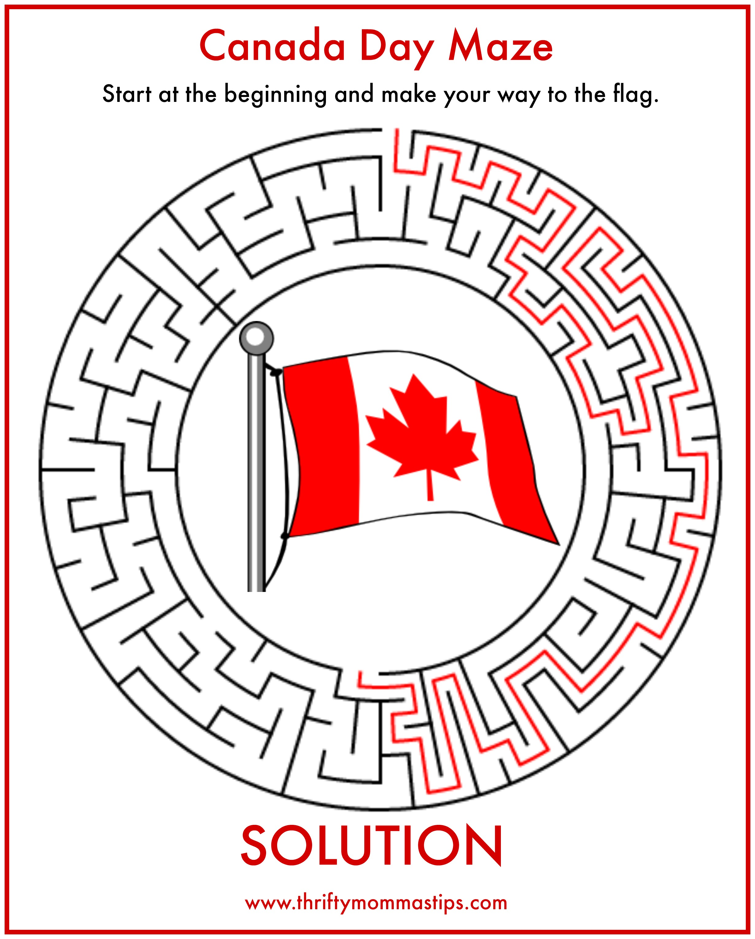 Pizza lessons and a pizza coloring page printable - Family Day Word Scramble Canada Day Maze Printable Solution