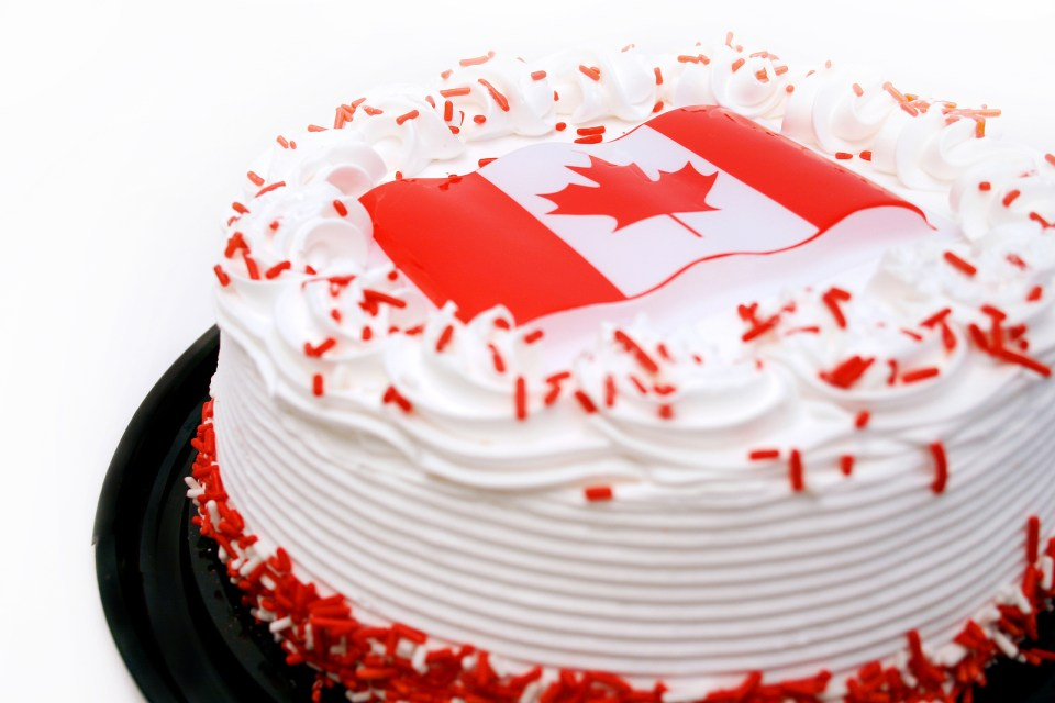 Delicious Canada day chocolate cake,