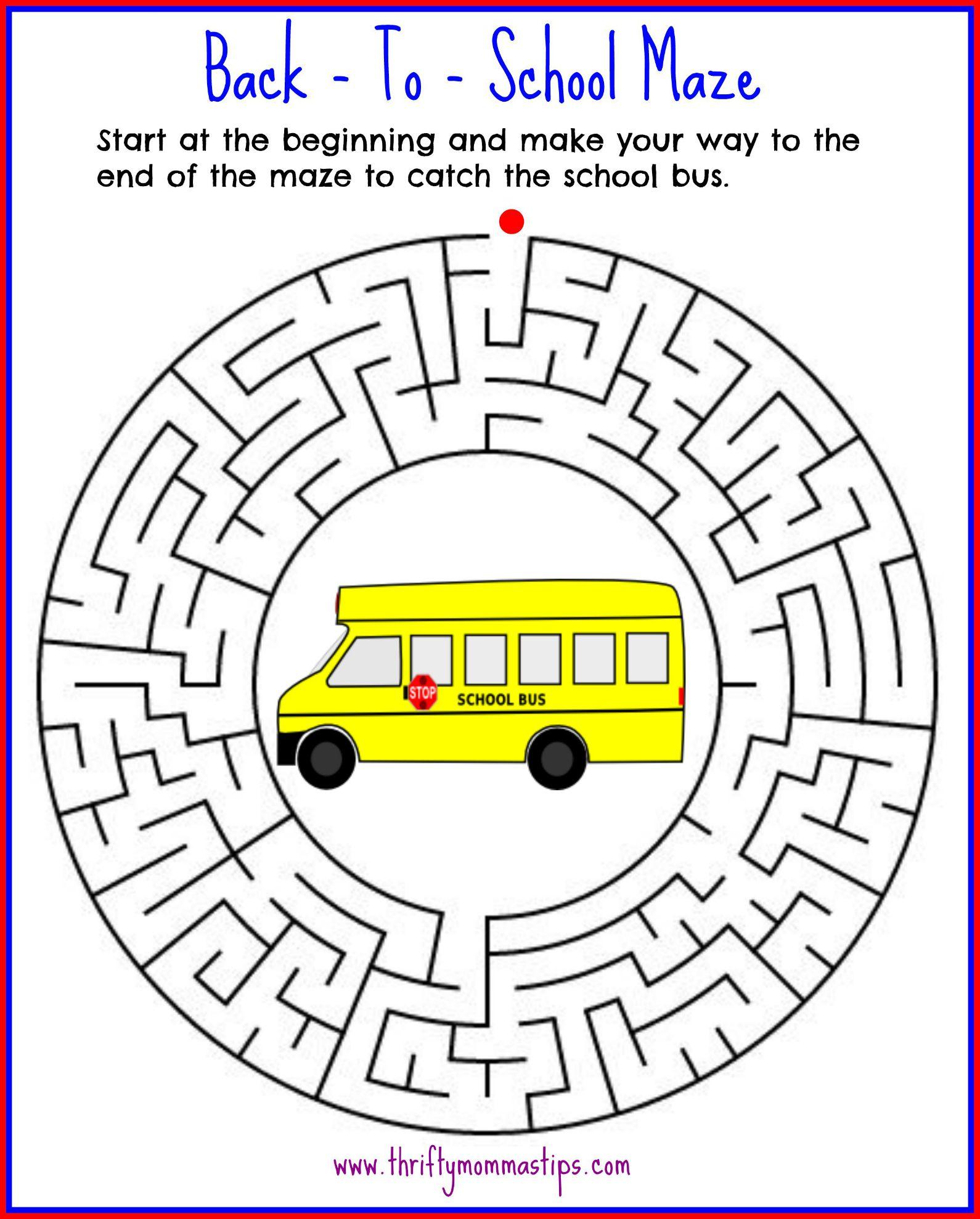 Back To School Maze Printable