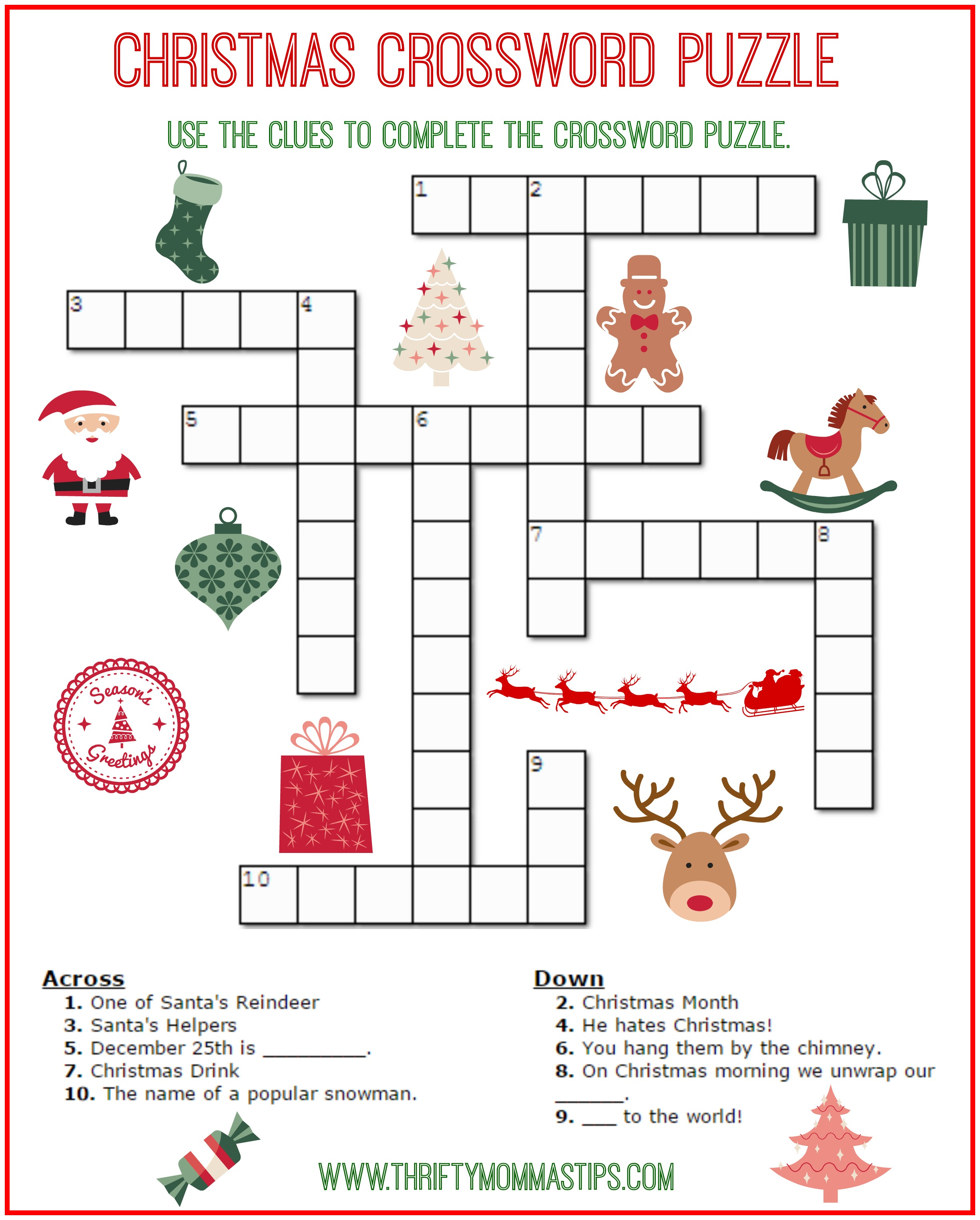 graphic relating to Simple Crossword Puzzles Printable named Xmas Crossword Puzzle Printable - Thrifty Mommas Strategies
