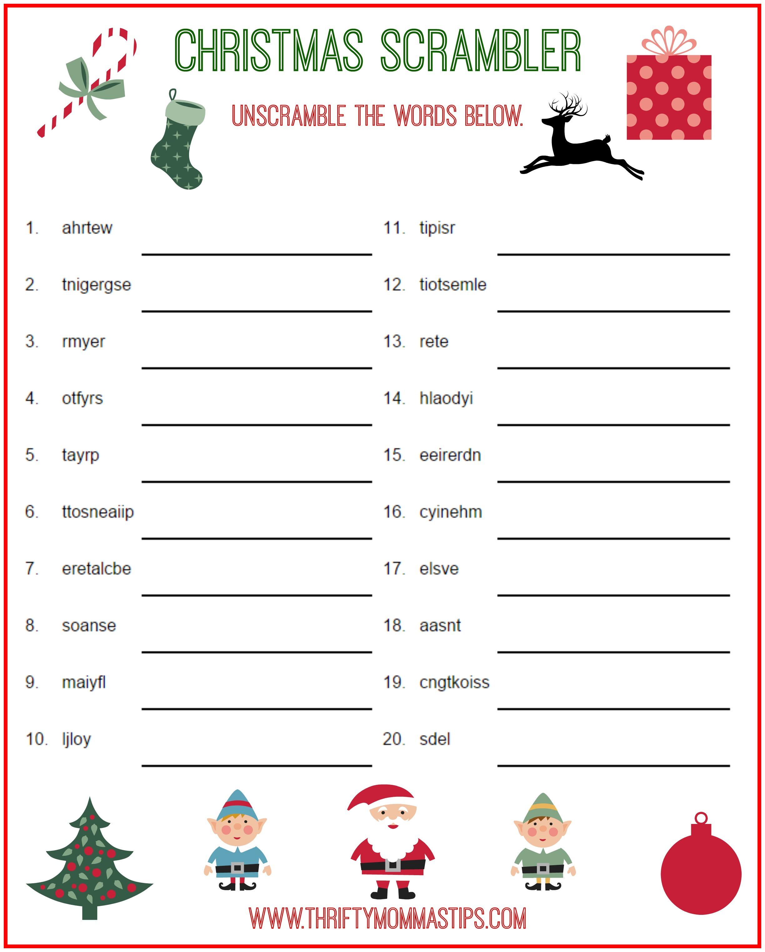 Christmas Scrambler Free Kids Puzzle Printables