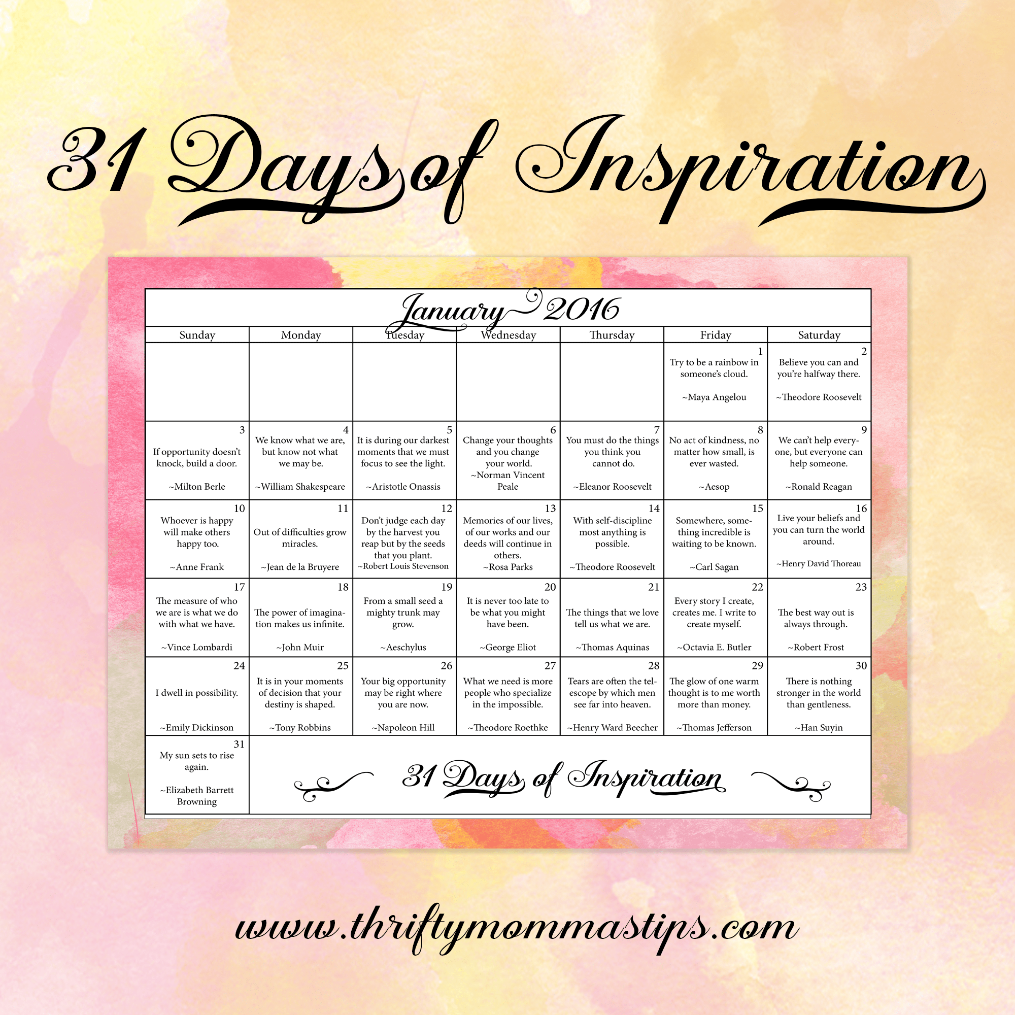 31 Days of Positive Messages Inspirational Calendar - Thrifty Mommas ...