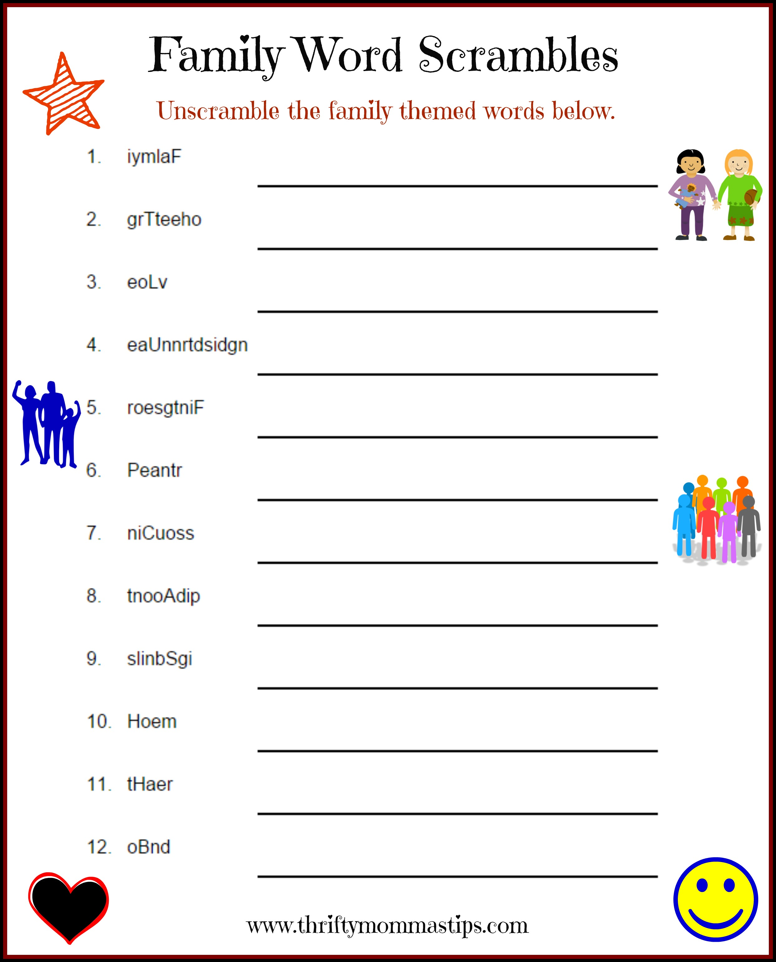 photo regarding Printable Word Games named Spouse and children Puzzle Phrase Recreation Printable - Thrifty Mommas Pointers