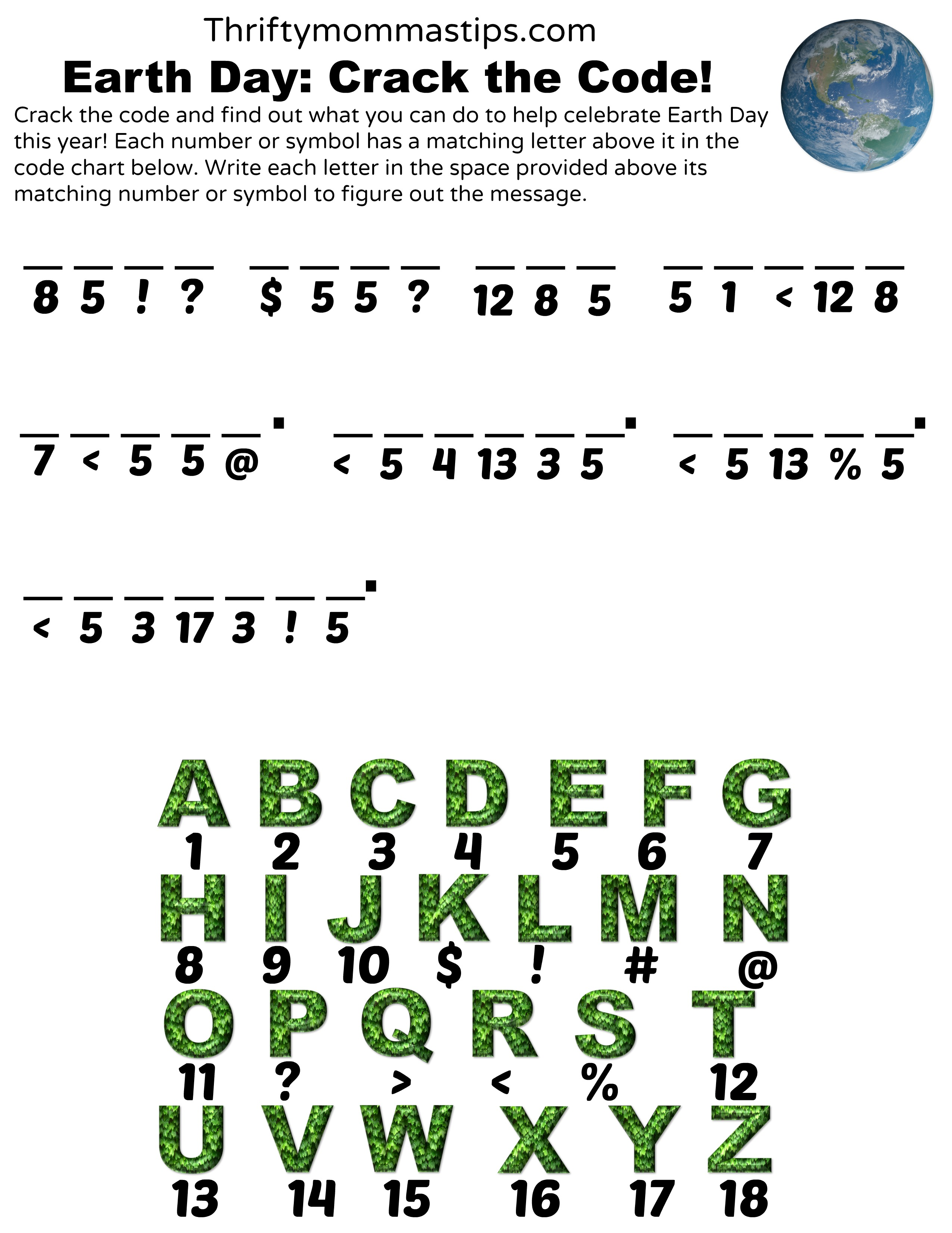 earth day the code printable thrifty mommas tips